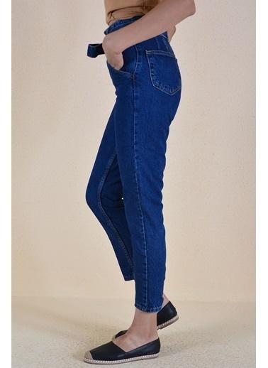 Butikburuç Belden Bağlama Kadın Kot Pantolon  Mavi